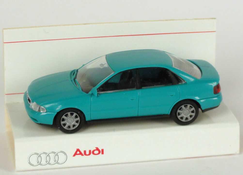 Foto 1:87 Audi A4 (B5) türkis Werbemodell  Verpackungsaufdruck Vorsprung durch Technik Rietze