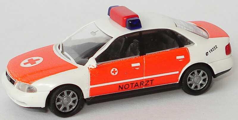 Foto 1:87 Audi A4 (B5) NEF Notarzt weiß/tagesleuchtrot Rietze 50651