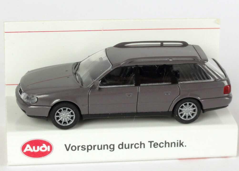 Foto 1:87 Audi A6 Avant (C4) dunkelgrau Werbemodell Verpackungsaufdruck Vorsprung durch Technik Rietze