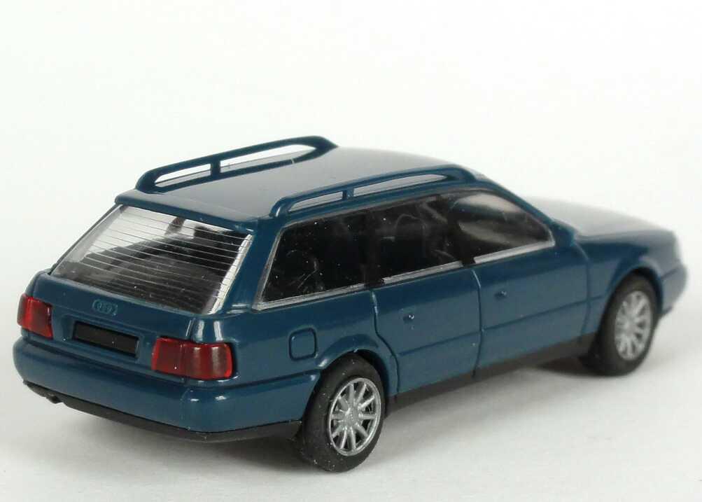 Foto 1:87 Audi A6 Avant (C4) dunkelpetrolblau Werbemodell Verpackungsaufdruck Vorsprung durch Technik Rietze