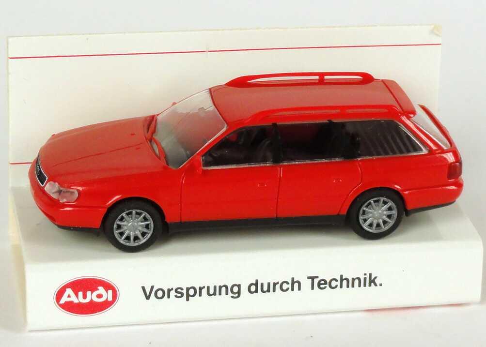 Foto 1:87 Audi A6 Avant (C4) rot Werbemodell Verpackungsaufdruck Vorsprung durch Technik Rietze