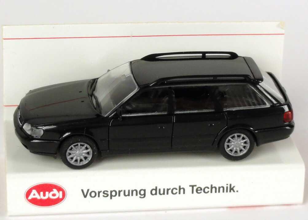 Foto 1:87 Audi A6 Avant (C4) schwarz Werbemodell Verpackungsaufdruck Vorsprung durch Technik Rietze