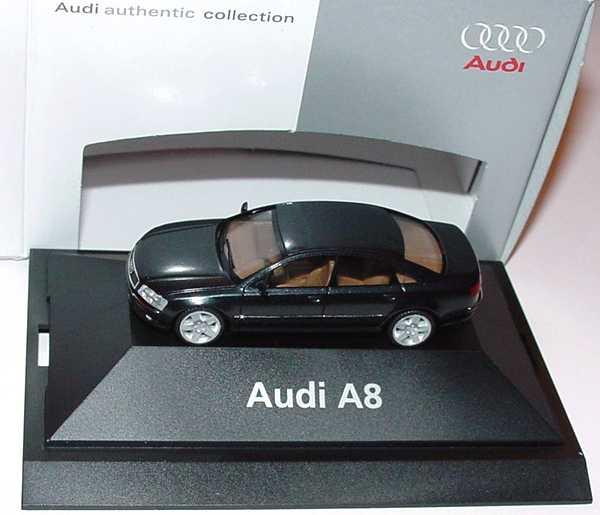 Foto 1:87 Audi A8 Mod. 2003 ebonyschwarz-met. Werbemodell herpa 5010308122