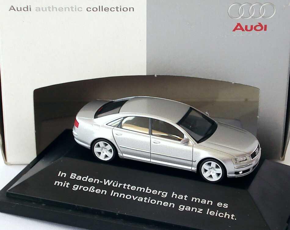 Foto 1:87 Audi A8 Mod. 2003 lichtsilber-met. In Baden-Württemberg hat man es mit großen Innovationen ganz leicht  Werbemodell herpa 20000001387001