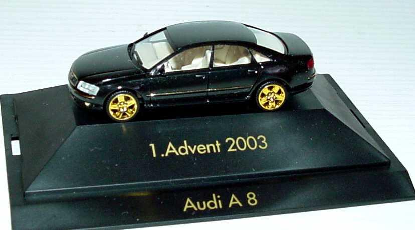 Foto 1:87 Audi A8 Mod. 2003 schwarz/gold 1. Advent 2003 herpa 149495