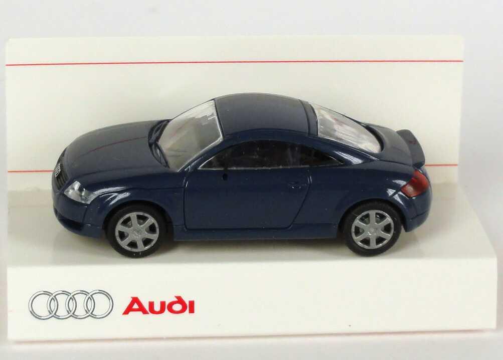 Foto 1:87 Audi TT Coupé (8N) mit Heckspoiler denimblau-met. Werbemodell Rietze 5019800432