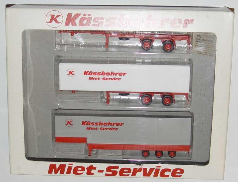 Foto 1:87 Auflieger-Set Kässbohrer Miet-service (3 Auflieger (Co-Chassis 2A + Wko 2A + JuPP 3A)) herpa 7536