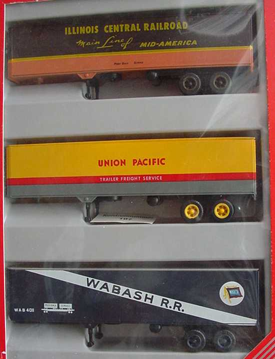 Foto 1:87 Auflieger-Set USA (3 2a Ko-Auflieger Illinois Central RR + Union Pacific + Wabash R.R.) herpa 7578