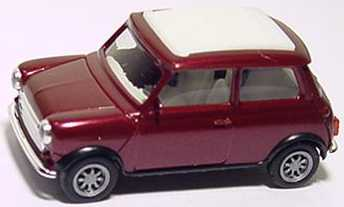 Foto 1:87 Austin Mini Cooper mit Rolldach (geschlossen) arenarotmet., Dach signalweiß herpa 032063