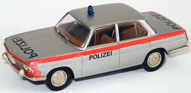 Foto 1:87 BMW 1800 Polizei Schweiz, silber/rot Brekina