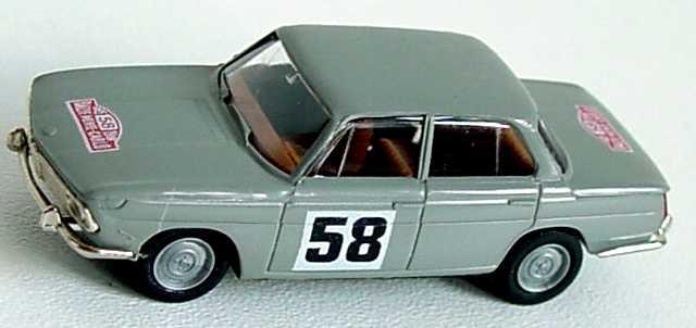Foto 1:87 BMW 1800 TISA bristolgrau Nr.58  (XXXIV. Rallye Monte-Carlo 1965) Brekina 2241