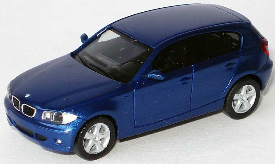 Foto 1:87 BMW 1er (E87) sydneyblue-met. (ohne Klappbox) herpa 80410308609