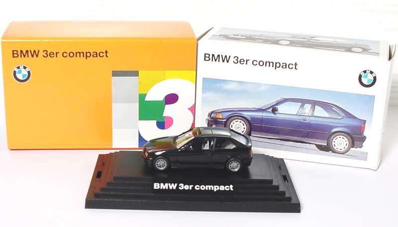 Foto 1:87 BMW 316i compact schwarz, IA grau Werbemodell Wiking 90419419718