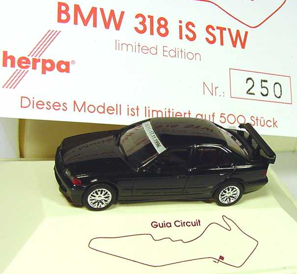 Foto 1:87 BMW 318iS STW (E36) schwarz Macau Grand Prix 1996 herpa
