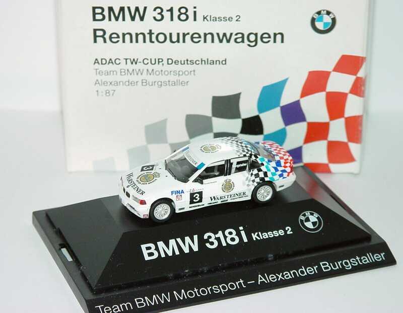 Foto 1:87 BMW 318i (E36) ADAC TWC ´94 Warsteiner Nr.3, Burgstaller Werbemodell herpa 80419420603