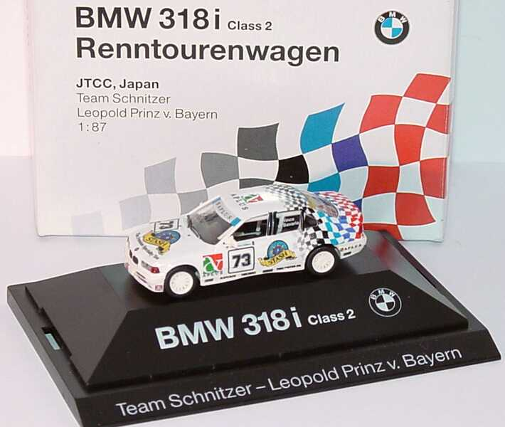 Foto 1:87 BMW 318i (E36) JTCC Schnitzer Nr. 73, Leop. Prinz v. Bayern Werbemodell herpa 80419420604