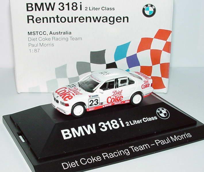 Foto 1:87 BMW 318i (E36) MSTCC Australien Diet Coke Nr. 23, Paul Morris Werbemodell herpa 80419420605