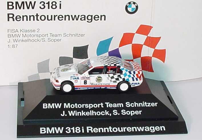 Foto 1:87 BMW 318i (E36)  FISA Klasse 2 Renntourenwagen 1993 Schnitzer Nr.6 J. Winkelhock/S. Soper Werbemodell herpa 80419419976