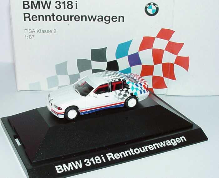Foto 1:87 BMW 318i (E36) weiß Design Flagge (Renntourenwagen FISA Klasse 2) Werbemodell herpa 80419419975