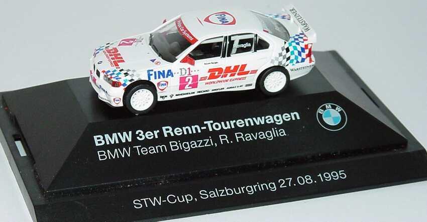 Foto 1:87 BMW 320i (E36) STW 1995 Bigazzi, Fina, DHL Nr.2, Ravaglia Werbemodell STW-Cup, Salzburgring 27.08.1995 herpa