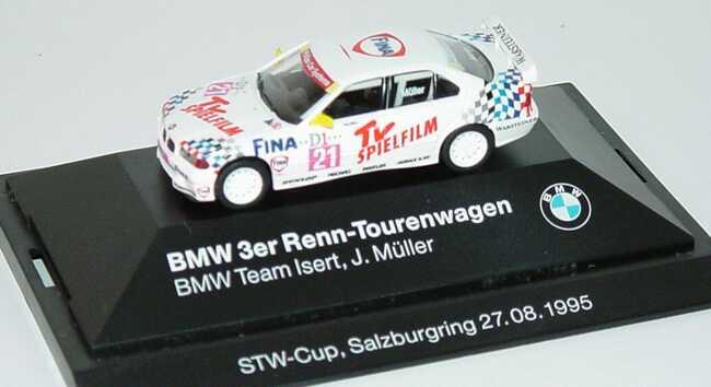 Foto 1:87 BMW 320i (E36) STW 1995 Isert, Fina, TV Spielfilm Nr.21, J. Müller Werbemodell STW-Cup, Salzburgring 27.08.1995 herpa