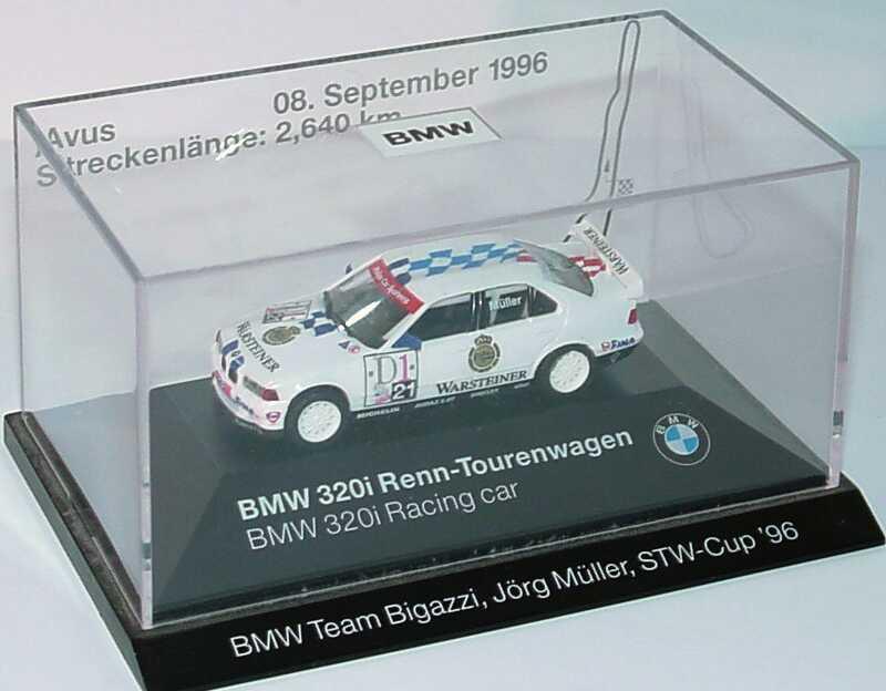 Foto 1:87 BMW 320i (E36) STW 1996 Bigazzi, Warsteiner Nr.21, Jörg Müller Avus 08. September 1996 Werbemodell herpa