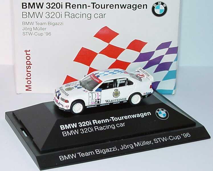 Foto 1:87 BMW 320i (E36) STW 1996 Bigazzi, Warsteiner Nr.21, Jörg Müller Werbemodell herpa 80419421439