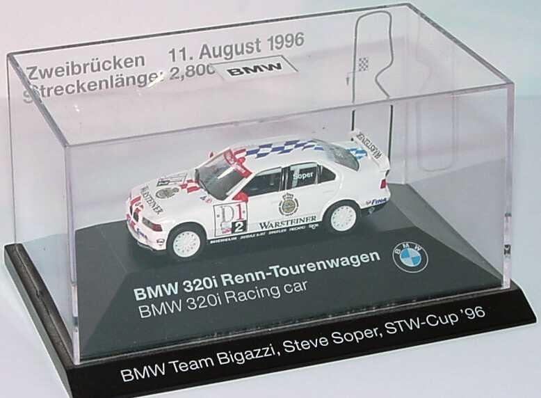 Foto 1:87 BMW 320i (E36) STW 1996 Bigazzi, Warsteiner Nr.2, Soper Zweibrücken 11. August 1996 Werbemodell herpa