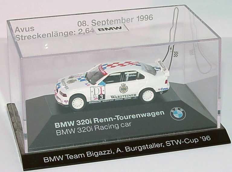 Foto 1:87 BMW 320i (E36) STW 1996 Bigazzi, Warsteiner Nr.3, Burgstaller Avus 08. September 1996 Werbemodell herpa