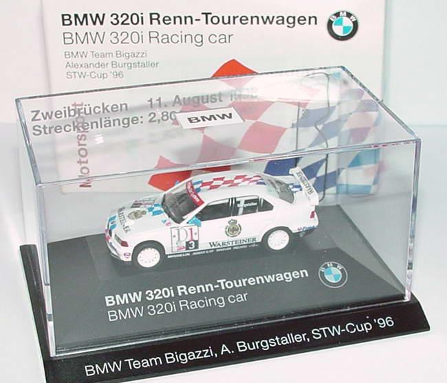 Foto 1:87 BMW 320i (E36) STW 1996 Bigazzi, Warsteiner Nr. 3, Burgstaller Zweibrücken 11. August 1996 Werbemodell herpa 80419421438