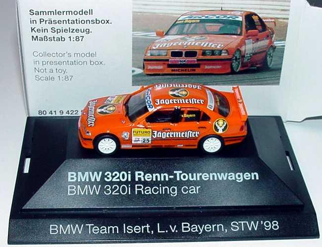 Foto 1:87 BMW 320i (E36) STW 1998 Isert, Jägermeister Nr.25, Prinz Leopold v. Bayern Werbemodell herpa 80419422509