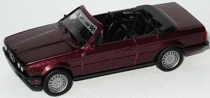 Foto 1:87 BMW 325i Cabrio (E30) bordeauxrot-met. Motorshow Essen ´90 (Fremdlackierung) herpa
