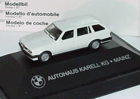 Foto 1:87 BMW 325i (E30) touring weiß Autohaus Karell KG Mainz Werbemodell herpa
