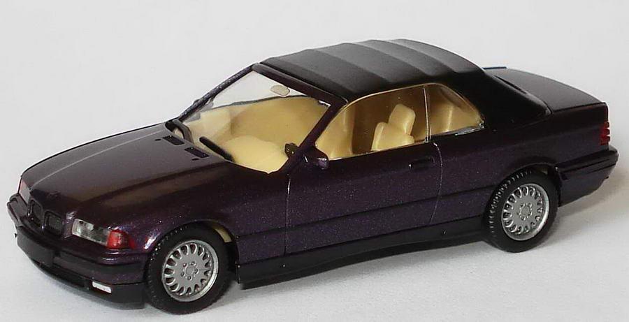 Foto 1:87 BMW 325i (E36) Cabrio dunkelviolett-met. mit Softtop herpa 031790/146555
