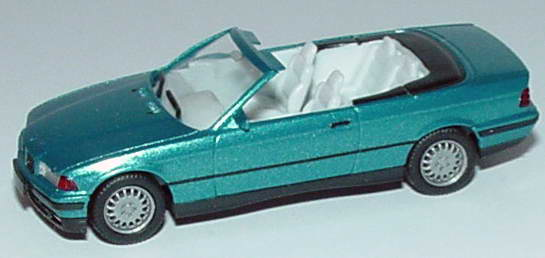 Foto 1:87 BMW 325i (E36) Cabrio lagunengrünmet., IA hellgrau herpa 031387