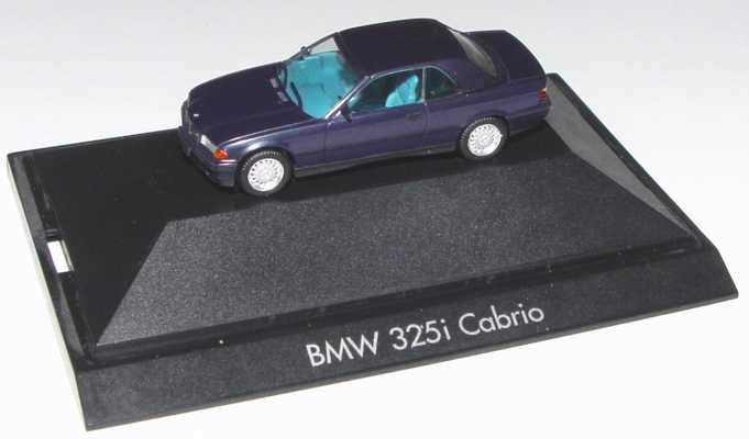 Foto 1:87 BMW 325i (E36) Cabrio mit Hardtop mauritiusblau-met. herpa 100571