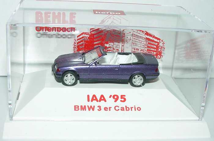 Foto 1:87 BMW 325i (E36) Cabrio mit Hardtop violett-met. Behle, IAA 95 herpa