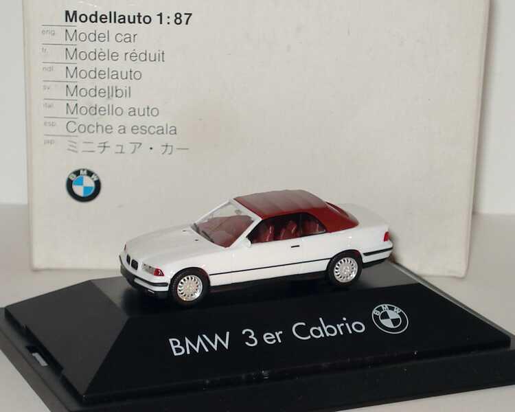 Foto 1:87 BMW 325i (E36) Cabrio weiß, Softtop rot Werbemodell herpa 80419419969