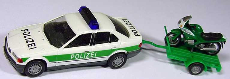 Foto 1:87 BMW 325i (E36) Polizei mit Anhänger und BMW-Motorrad herpa 042482