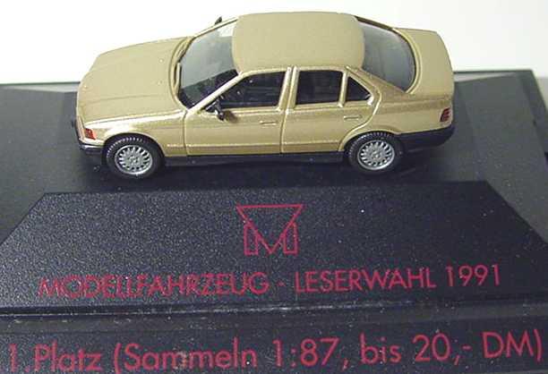 Foto 1:87 BMW 325i (E36) gold-met. 1. Platz Modellfahrzeug Leserwahl 1991 herpa