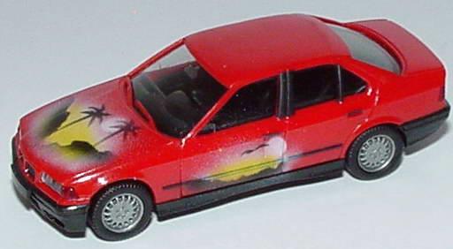 Foto 1:87 BMW 325i (E36) rot Airbrushmotiv Sunset herpa 020892