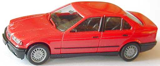 Foto 1:87 BMW 325i (E36) rot mit Chromniere herpa 020892