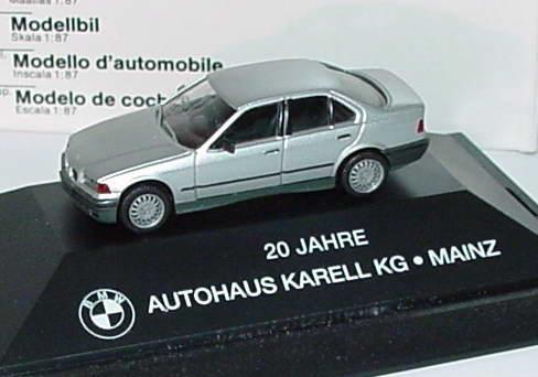 Foto 1:87 BMW 325i (E36) silber-met. 20 Jahre Autohaus Karell KG Mainzr Werbemodell herpa