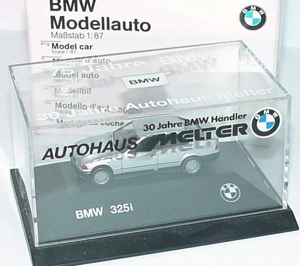 Foto 1:87 BMW 325i (E36) silber-met. 30 Jahre Autohaus Melter Werbemodell herpa
