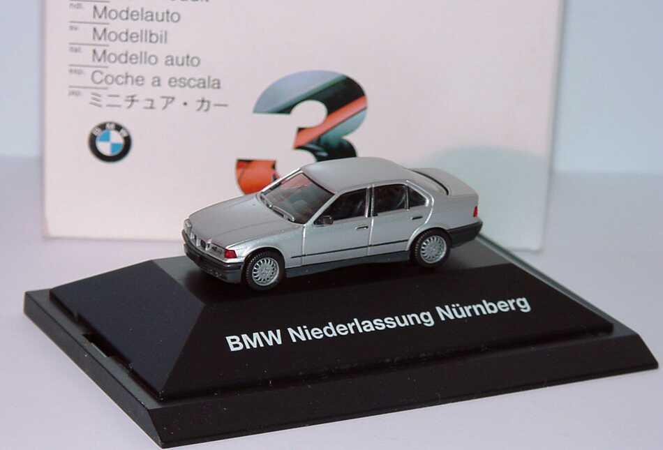 Foto 1:87 BMW 325i (E36) silber-met. BMW Niederlassung Nürnberg Werbemodell herpa