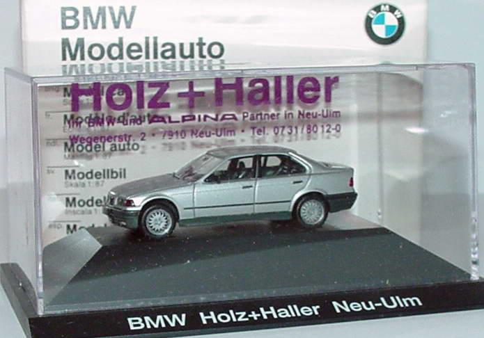 Foto 1:87 BMW 325i (E36) silber-met. Holz+Haller, Neu-Ulm Werbemodell herpa