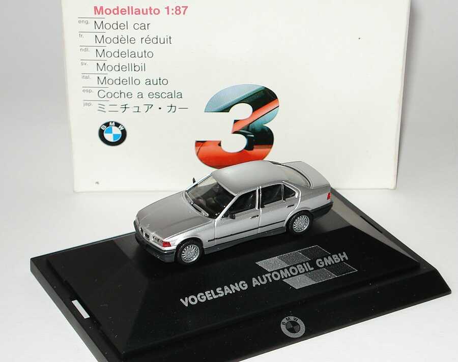 Foto 1:87 BMW 325i (E36) silber-met. Vogelsang Automobil GmbH (Niere mit Chrom) Werbemodell herpa