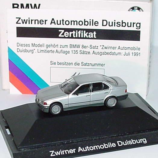Foto 1:87 BMW 325i (E36) silber-met. Zwirner Automobile Duisburg, mit Zertifikat Werbemodell herpa