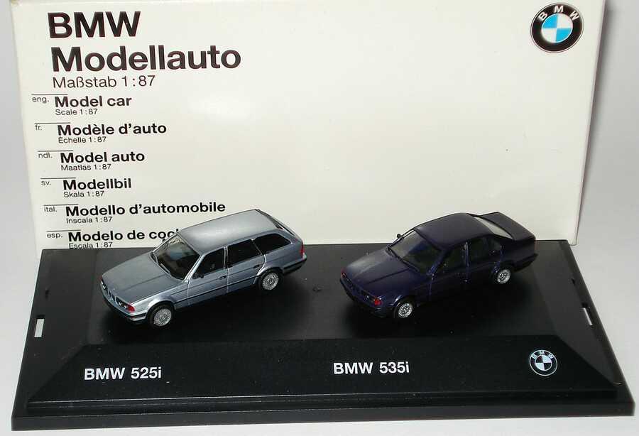 Foto 1:87 BMW 5er-Reihe (525i (E34) touring silber + 535i (E34) blaumet.)Werbemodell herpa 82229414849