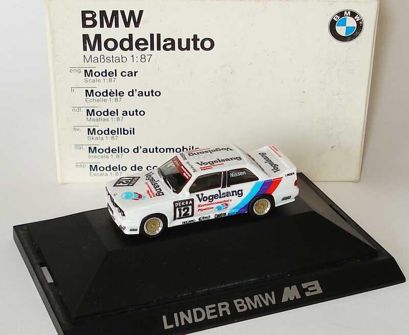 Foto 1:87 BMW M3 (E30) DTM 1990 Linder, Vogelsang Nr.12, Nissen Werbemodell herpa 82229417845